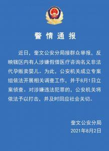 警方通报:山东潍坊有人涉假借医疗咨询名义非法代孕贩卖婴儿